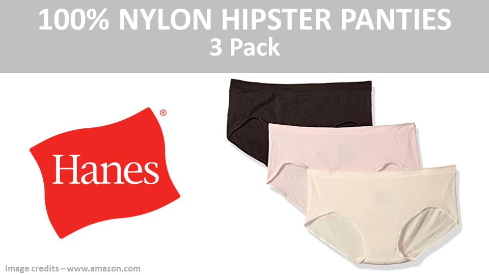 100 Percent Nylon Hipster Panties 3 Pack