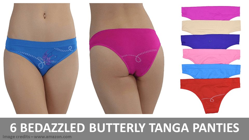 6 Bedazzled Butterfly Tanga Panties