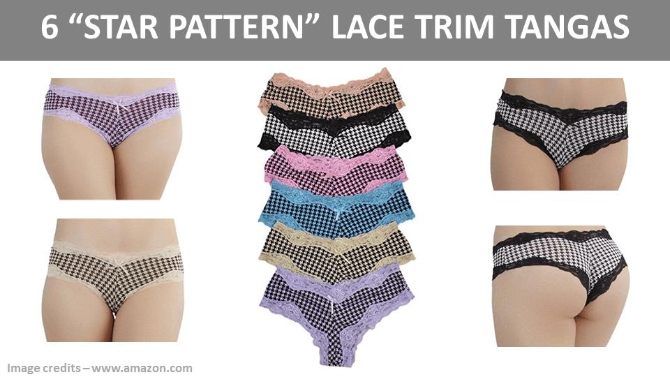 6 Star Pattern Lace Trim Tangas