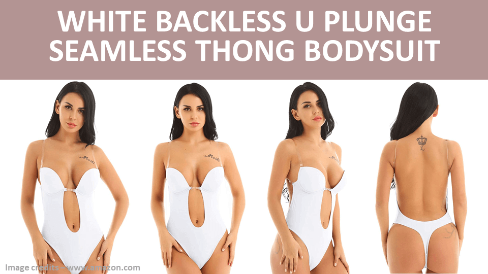 Bodysuit - White Backless U Plunge Seamless Thong Bodysuit Image