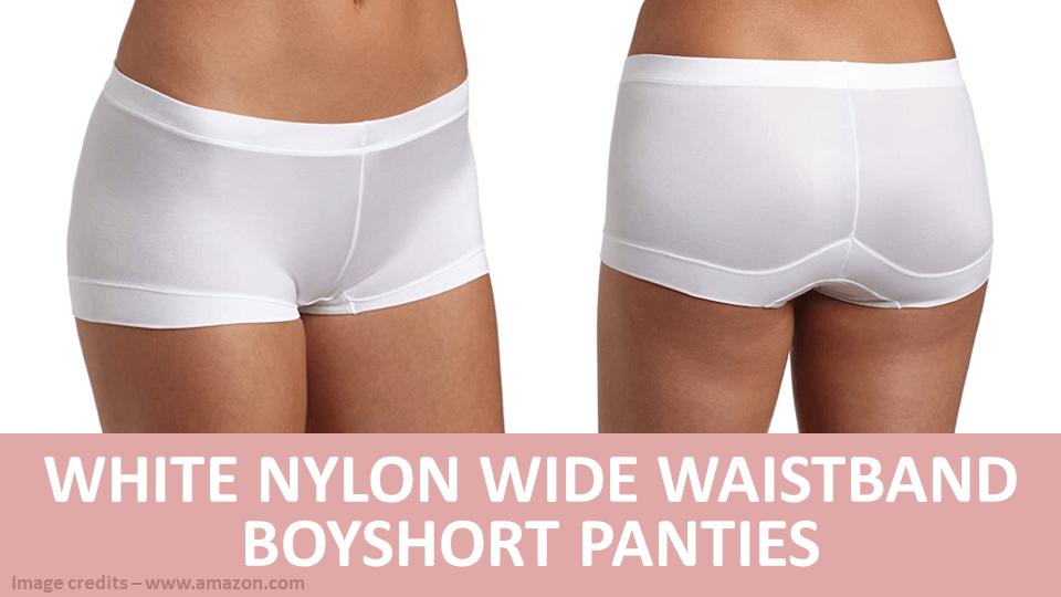 Boyshort - White Nylon Wide Waistband Boyshort Panties Image