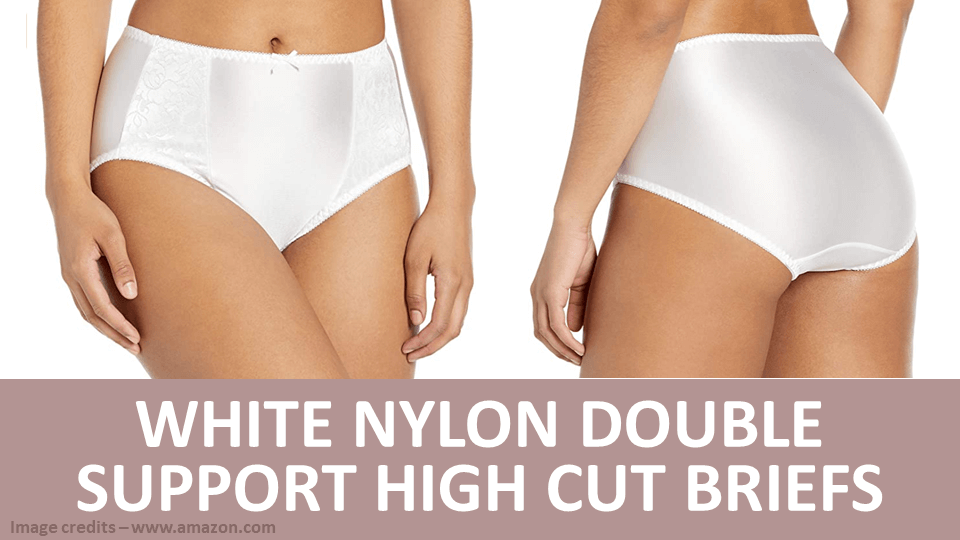 Briefs - White Nylon Double Support High Cut Briefs Image