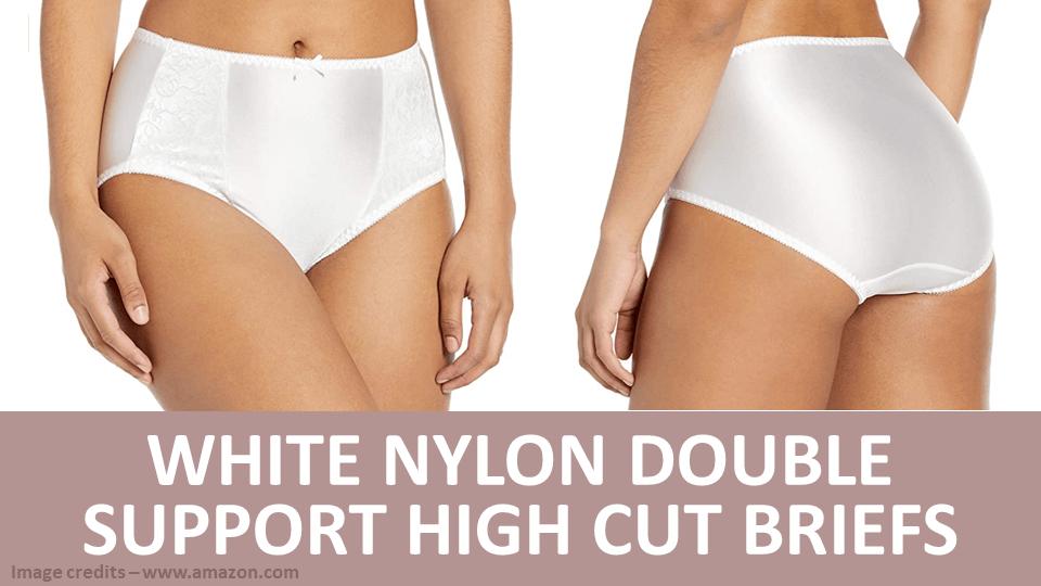 Briefs - White Nylon Double Support High Cut Briefs Image
