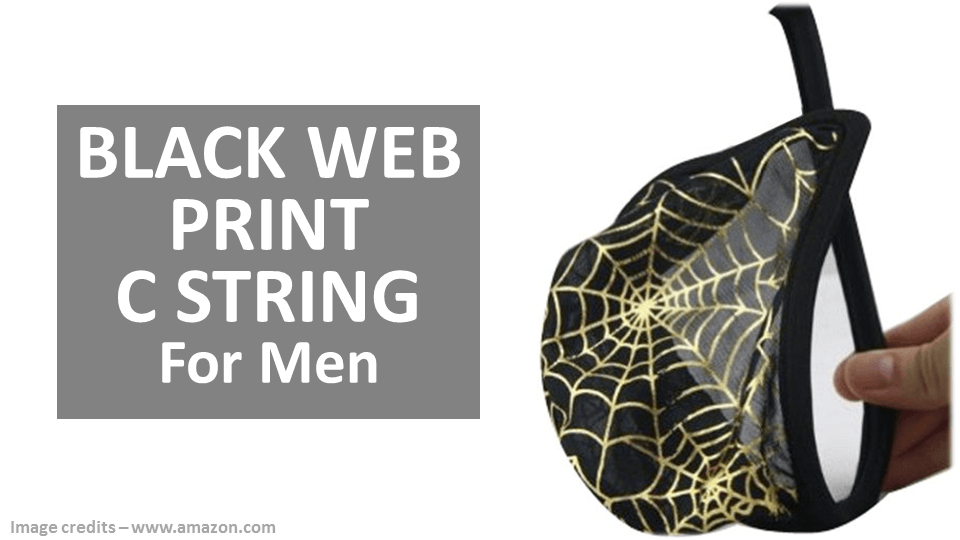 C String Panties For Men - Black Web Print