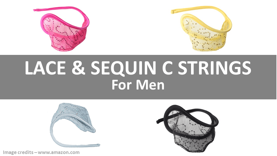 C String Panties For Men - Lace And Sequins