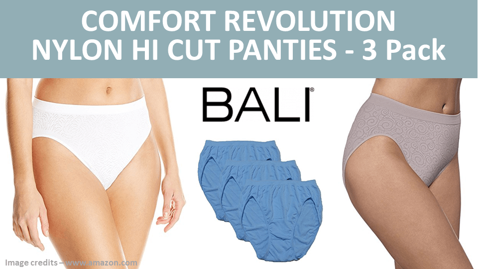 Comfort Revolution Nylon Hi Cut Panties 3 Pack