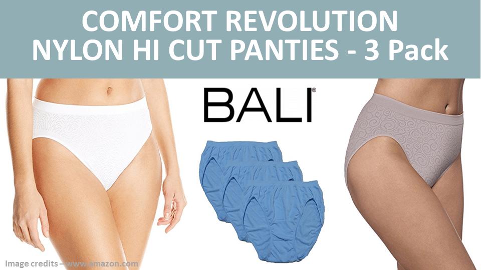 Comfort Revolution Nylon Hi Cut Panties 3 Pack