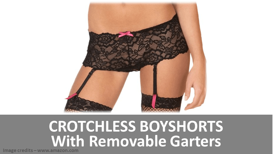 Crotchless Boyshorts With Removable Garters