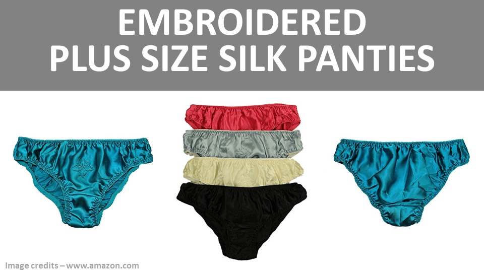 Embroidered Plus Size Silk Panties