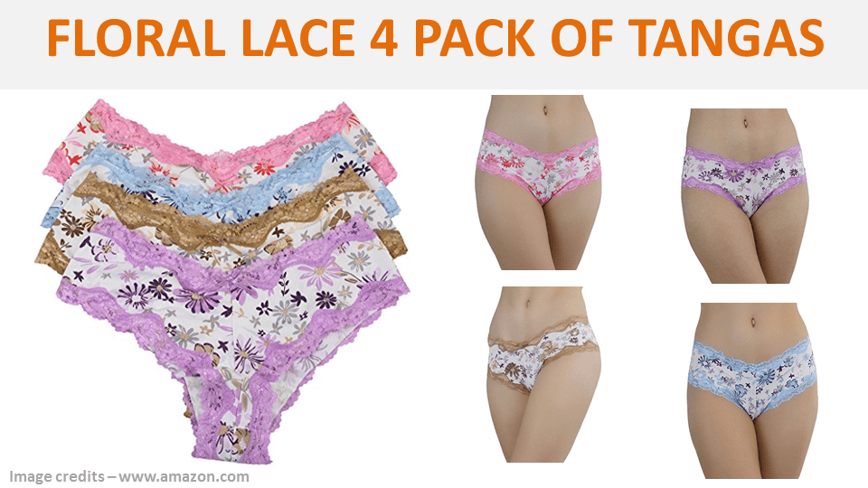Floral Lace 4 Pack Of Tangas