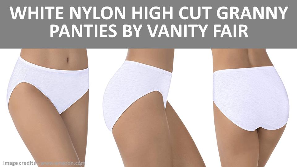 Granny - White Nylon High Cut Granny Panties by Vanity Fair Image