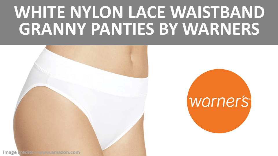 Granny - White Nylon Lace Waistband Granny Panties by Warners Image