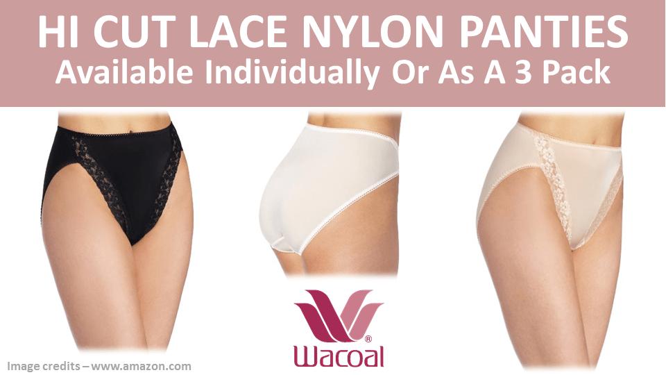 Hi Cut Lace Nylon Panties