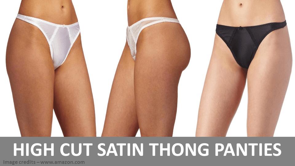 High Cut Satin Thong Panties