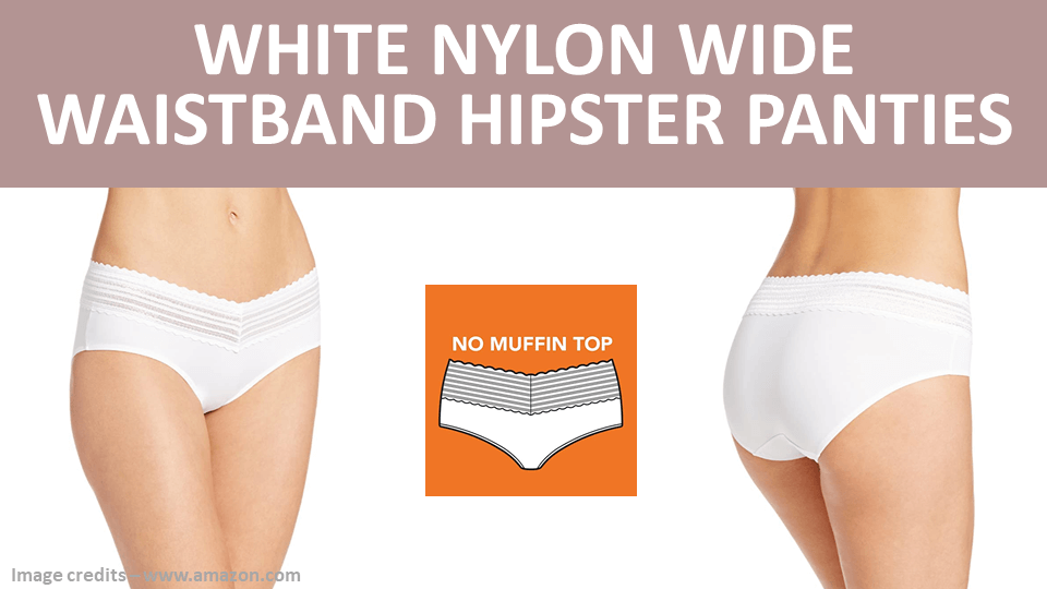 Hipster - White Nylon Wide Waistband Hipster Panties Image