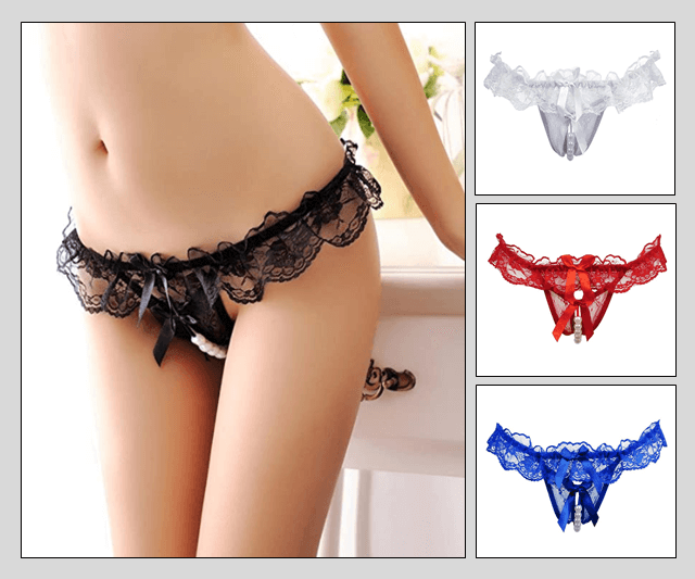 Lace Open Crotch Pearl Panties Image 50