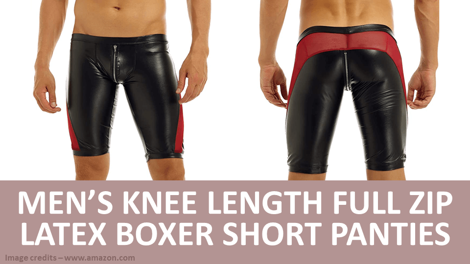 Men's Knee Length Full Zip Latex Boxer Short Panties