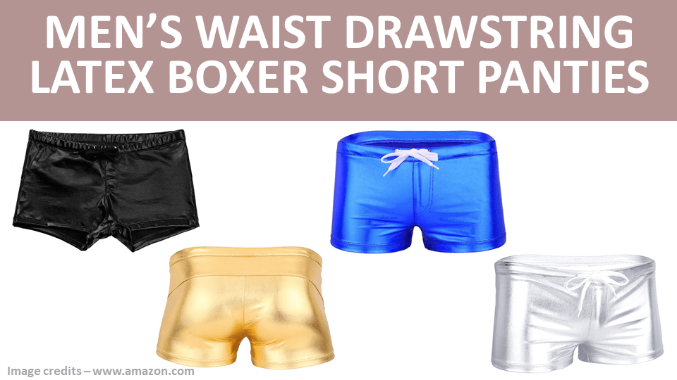 Men's Waist Drawstring Latex Boxer Short Panties
