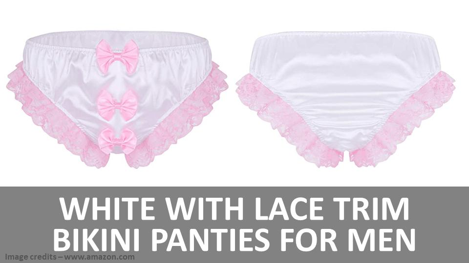 Men - White With Pink Lace Trim Bikini Panties For Men Image