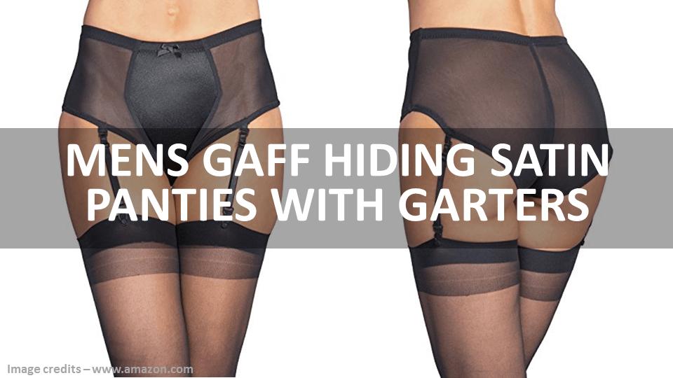 Mens Gaff Hiding Satin Panties With Garters