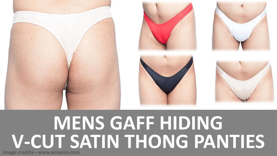 Mens Gaff Hiding V-Cut Satin Thong Panties