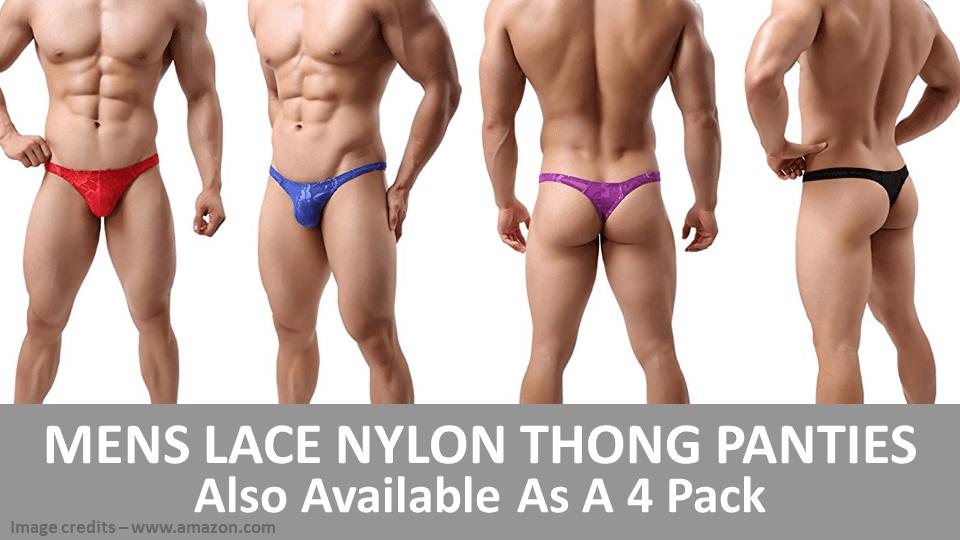 Mens Lace Nylon Thong Panties