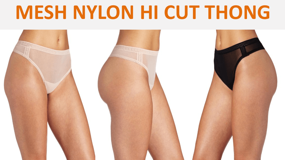 Mesh Nylon Hi Cut Thong