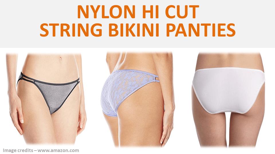 Nylon Hi Cut String Bikini Panties