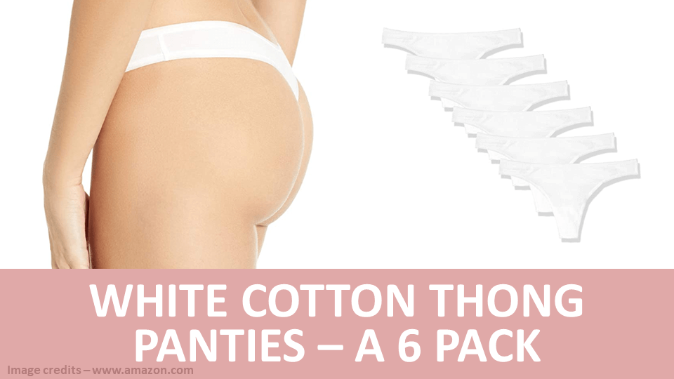 Pack - White Cotton Thong Panties - A 6 Pack Image