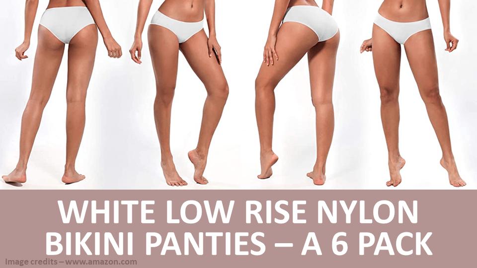 Pack - White Low Rise Nylon Bikini Panties - A 6 Pack Image