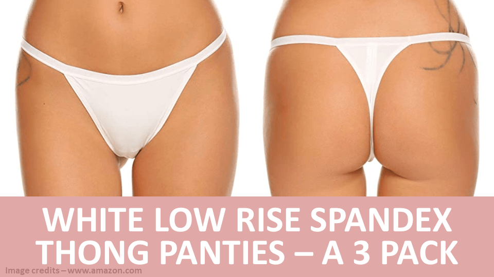 Pack - White Low Rise Spandex Thong Panties - A 3 Pack Image