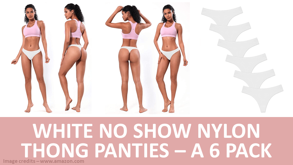 Pack - White No Show Nylon Thong Panties - A 6 Pack Image