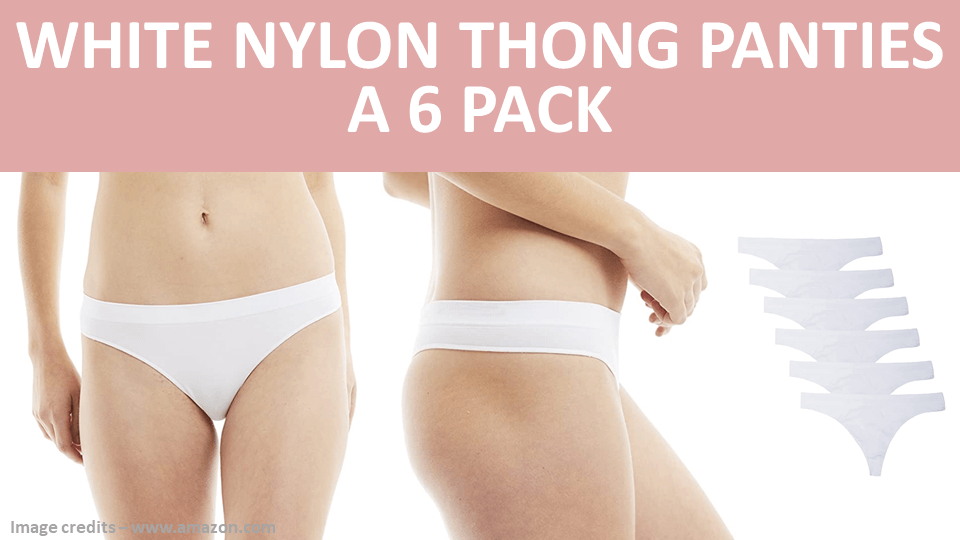 Pack - White Nylon Thong Panties - A 6 Pack Image