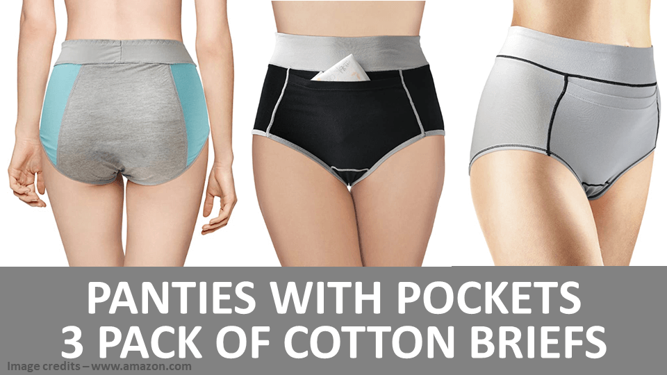 Panties With Pockets - 3 Pack Of Cotton Briefs