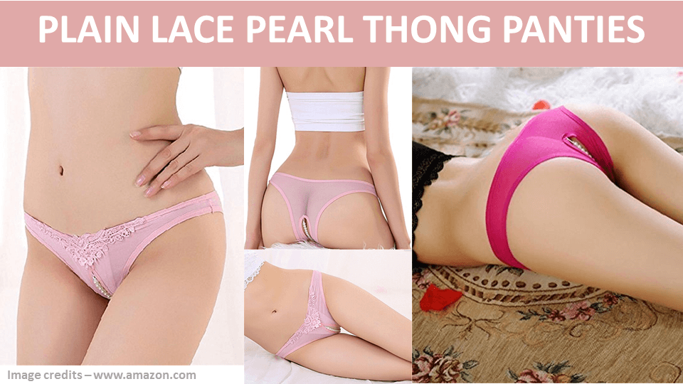 Plain Lace Pearl Thong Panties