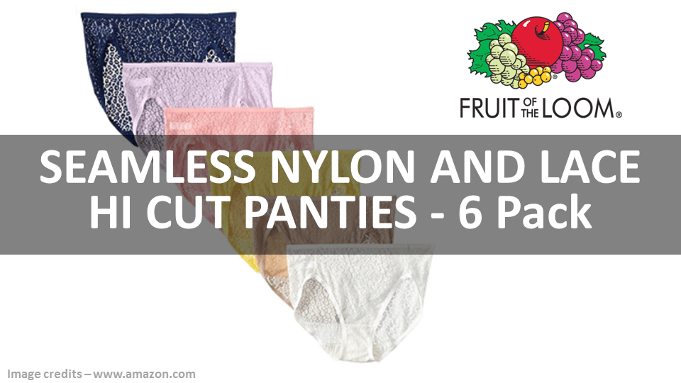 Seamless Nylon And Lace Hi Cut Panties 6 Pack Fruit Of The Loom
