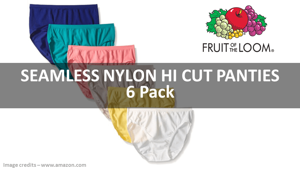 Seamless Nylon Hi Cut Panties 6 Pack Fruit Of The Loom