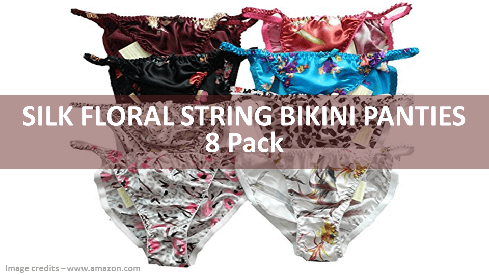 Silk Floral String Bikini Panties 8 Pack