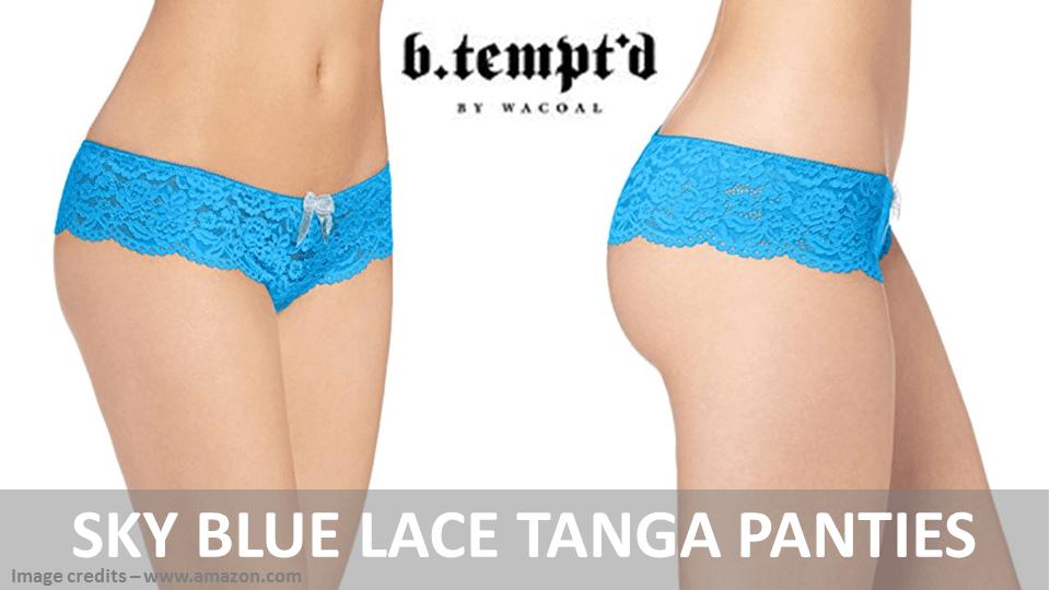 Sky Blue Lace Tanga Panties