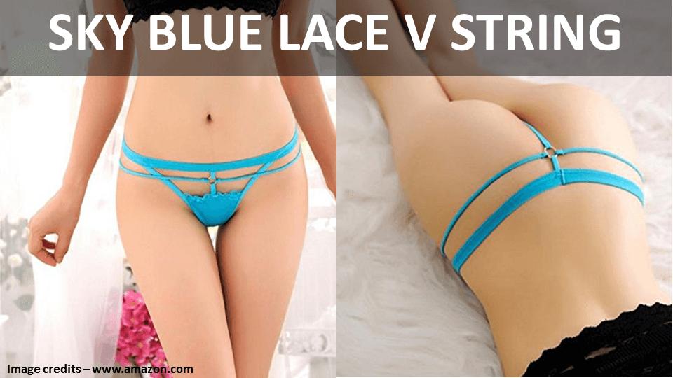Sky Blue Lace V String