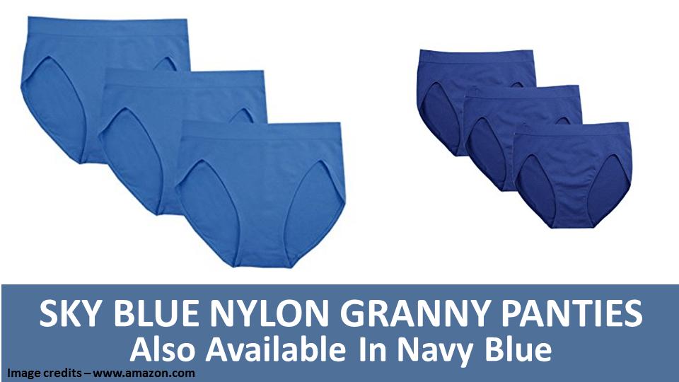 Sky Blue Nylon Granny Panties