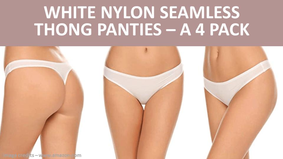 Thong - White Nylon Seamless Thong Panties - A 4 Pack Image