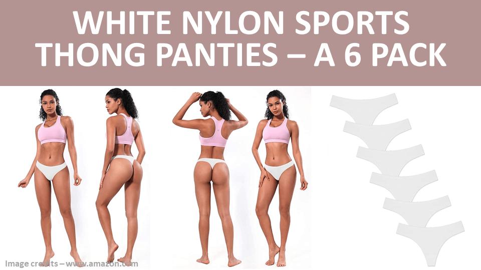 Thong - White Nylon Sports Thong Panties - A 6 Pack Image