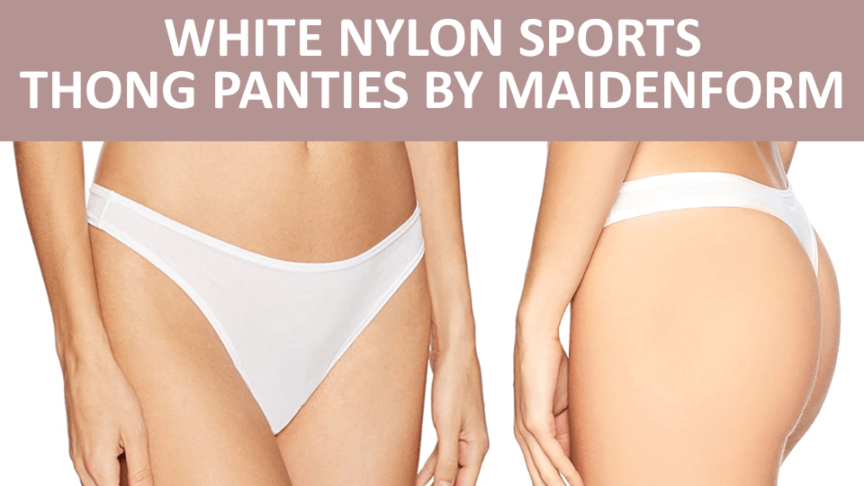 Thong - White Nylon Sports Thong Panties by Maidenform Image