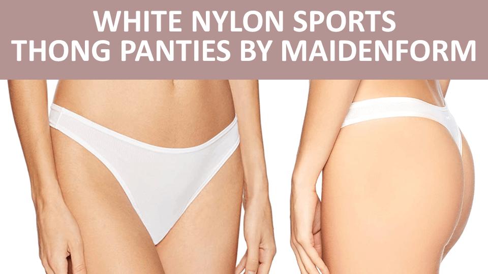 Thong - White Nylon Sports Thong Panties by Maidenform Image
