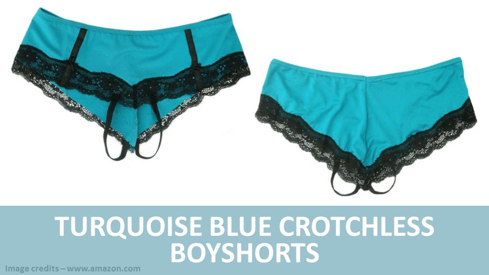 Turquiose Blue Crotchless Boyshorts