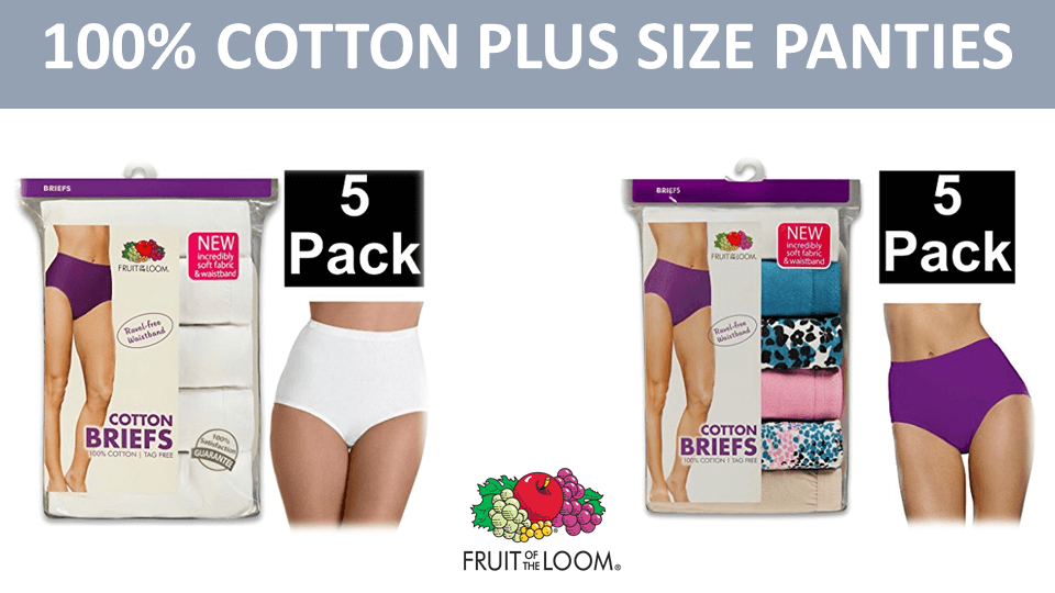 White Cotton Panties - 5 Pack Plus Size By Fruit Of The Loom