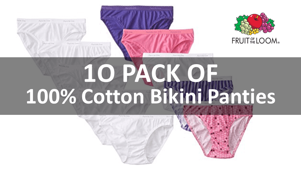 White Cotton Panties - 6 Pack Bikini By Fruit Of The Loom