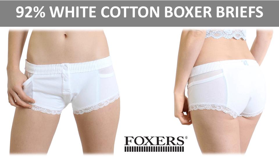 White Cotton Panties - Foxers Boxer Briefs