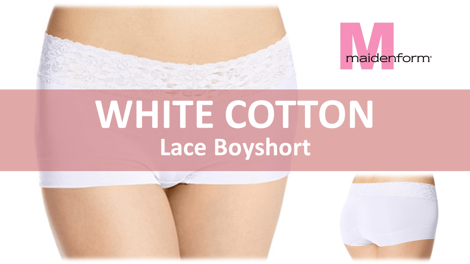 White Cotton Panties - Maindenform Boyshort